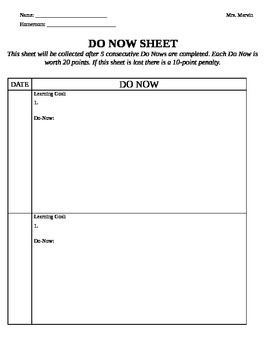 Weekly Do Now Sheet