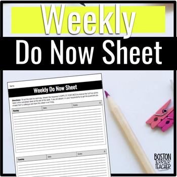 Weekly Do Now Sheet for Secondary