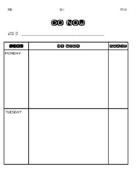 Weekly Do Now Template! Clear & Organized! Easy! Time-Saver!