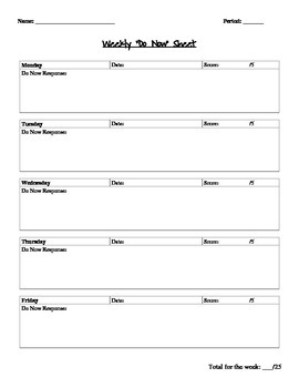 Weekly Do Now Worksheet