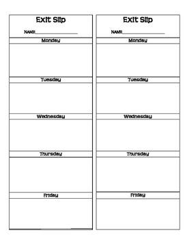Weekly Do Now and Exit Slip Paper
