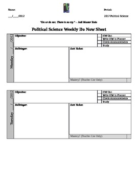Weekly Do Now/Warm Up Sheet