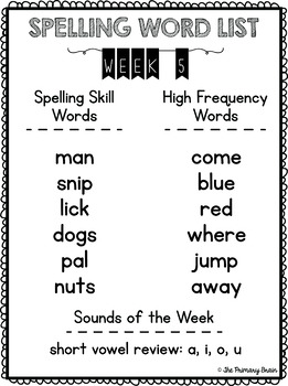 Weekly Dolch Spelling Word Lists for First Grade