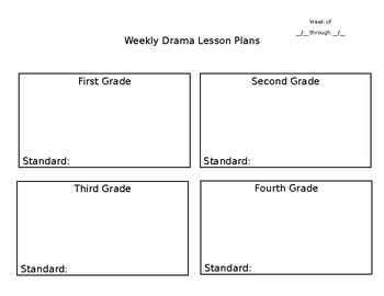 Weekly Drama Lesson Plans (Editable)