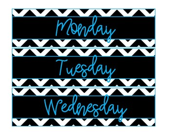 Weekly Drawer Labels-Black and White Chevron with a Pop of Blue