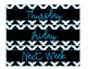 Sterilite Drawer Labels-Black and White Chevron with a Pop of Blue