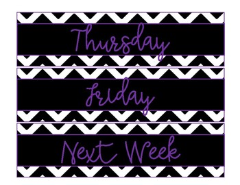 Days of the Week Drawer Labels-Black and White Chevron with a Pop of Purple