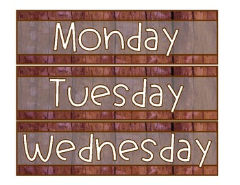 Weekly Drawer Labels- Brown Wood with Sub Drawer