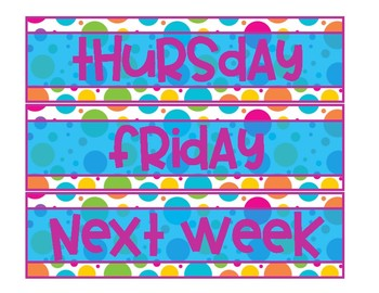 Days of the Week Drawer Labels-Colorful Circles