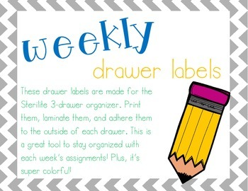 Weekly Drawer Labels *Freebie*