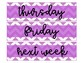 Weekly Drawer Labels-Purple and White Chevron