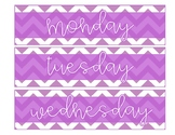 Sterilite Drawer Labels-Purple and White Chevron with White Text