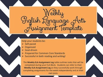 Weekly English Language Arts Assignment Template