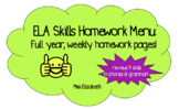 Weekly ELA Skills Homework Menu