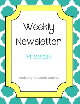 Weekly Editable Class Newsletter