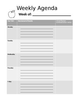Weekly Editable Student Agenda