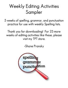 Weekly Editing Activities Sampler for Grade 3, 4, 5