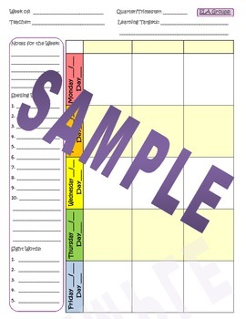Weekly Elementary Lesson Planner Pages - Horizontal