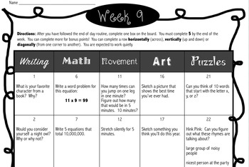 Weekly End of the Day Choice Boards for the Year: A Growing Bundle