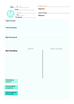 Weekly English Lesson Plan Template (Monday-Friday)