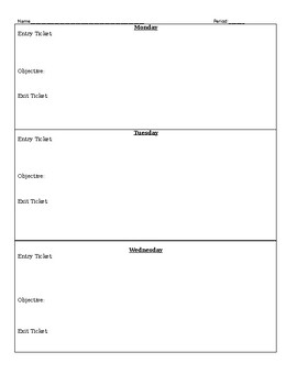 Weekly Entry Exit Objective Sheet