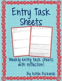 Weekly Entry Task Sheet with Reflection