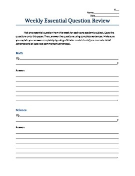 Weekly Essential Question Review