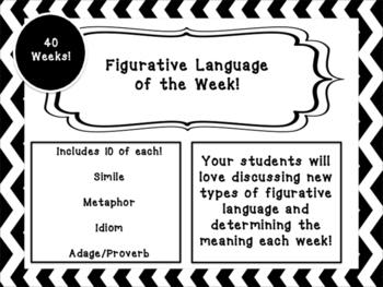 Weekly Figurative Langage Poster! (IDIOMS, SIMILES, METAPHORS, MORE!)