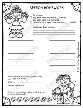 Fill-in-the-Blank Homework Sheets for Articulation Practice