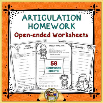 Articulation Homework: Open-Ended Worksheets