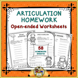 Articulation Homework: Open-Ended Worksheets