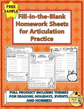 Fill-in-the-Blank Homework Sheets for Articulation Practice - SAMPLE FREEBIE