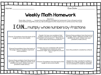 Weekly Fractions Homework - 5th Grade
