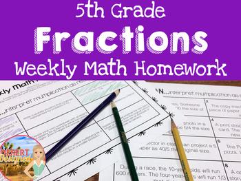 Weekly Fractions Homework - 5th Grade