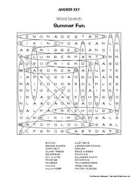 "Weekly Freebie #15 - Word Search - ""Summer Fun"" - Fun Activity - Grades 3-4"