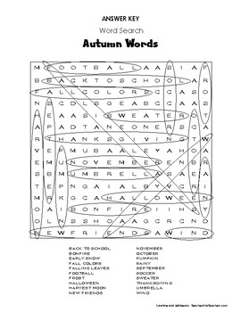 """Weekly Freebie #25 - Word Search Activity - """"Autumn Words"""" - Fall - Grades 3-4"""