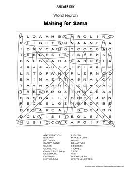 "Weekly Freebie #34 - Word Search - ""Waiting for Santa"" - Grades 3-4 - Fun!"