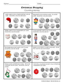 Weekly Freebie #35 - Christmas Shopping! - Counting Money - Practice with Coins