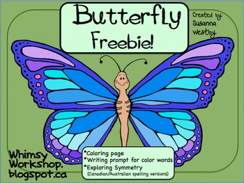 Weekly Freebie : Butterfly Writing Prompt (Color Words & S