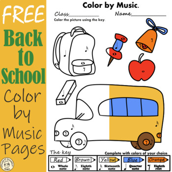 Weekly Freebies Back to School Color by Music Pages
