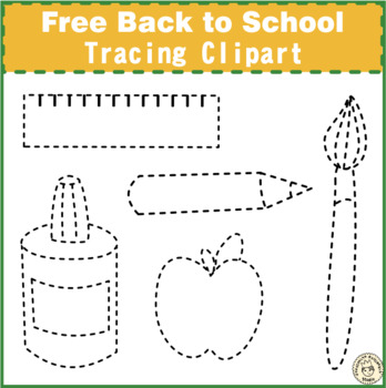 Back to School Tracing Clipart {Weekly Freebies}