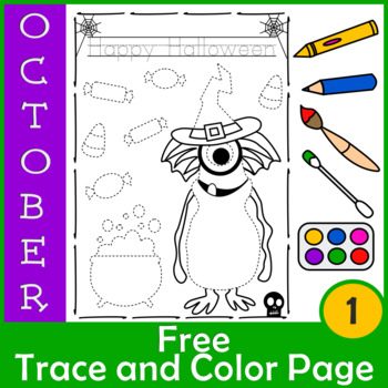 Weekly Freebies Halloween Trace and Color Page