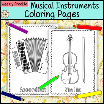 Musical Instruments Coloring Pages {Weekly Freebies}