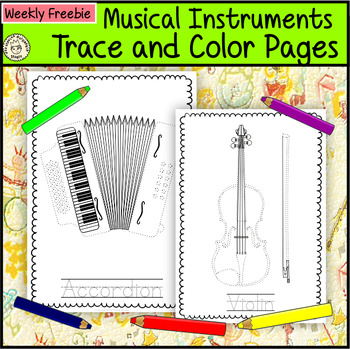 Weekly Freebies Musical Instruments Trace and Color Pages