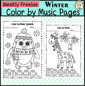 Weekly Freebies Winter Color by Music Pages