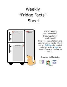 "Weekly ""Fridge Facts"" Sheet for Spelling- FREEBIE"