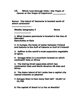 Weekly Geography 1-5