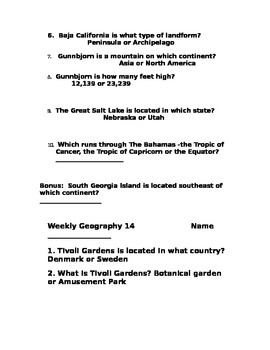 Weekly Geography 11-15
