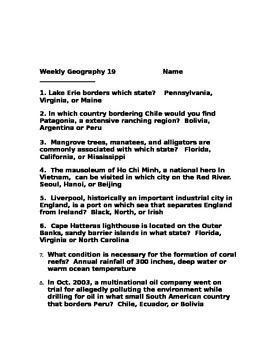 Weekly Geography 16-20