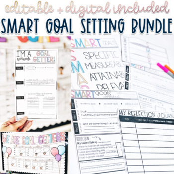 SMART goal setting sheet w/ poster, flip book, reflection journal